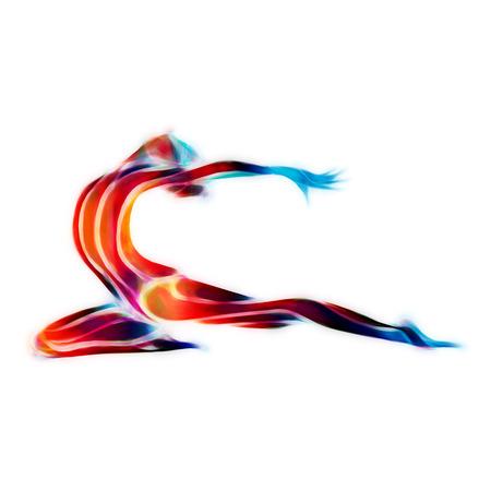 gymnastik: Kreative Silhouette von Turn-Mädchen. Kunstturnen Frau, Illustration oder eine Vorlage in den modischen abstrakten bunten Neon-Wellen-Stil auf weißem Hintergrund