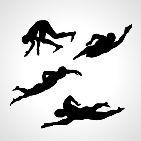 swimmer's: 4 Silhouettes Collection of Professional Crawl Swimmers.  Vector illustration clipart