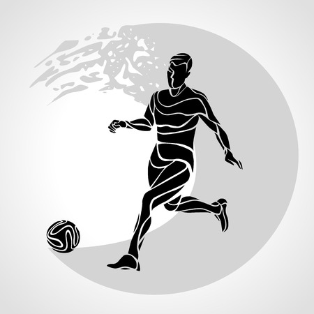 kicks: Football or Soccer player kicks the ball. The colorful  sticker on black background.