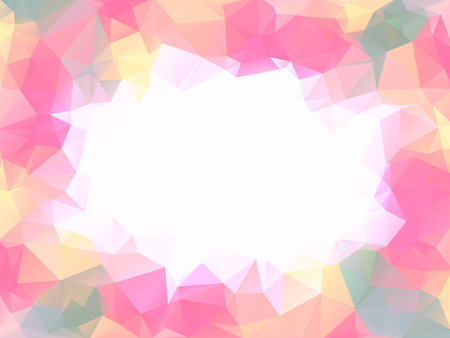 girlish: Pastel warm colors polygon background or vector frame. Pink lovely girlish colors abstract background with emply white space in center
