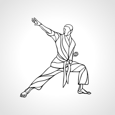 Man in a karate pose. Martial arts man silhouette. Detailed vector illustration of a martial arts master