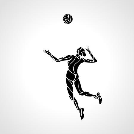 diseño de la línea estilizada de un jugador de voleibol femenino se prepara para clavar el jugador Balón de voleibol que sirve la bola - negro silueta del vector. voleibol moderno simple.