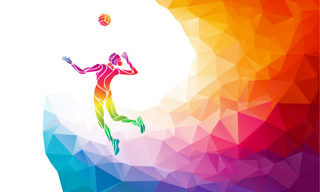 female volleyball: Creative silhouette of female volleyball player serving a ball. Beach sport, colorful vector illustration with background or banner template in trendy abstract colorful polygon style and rainbow back