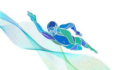 diving: Freestyle Swimmer Black Silhouette. Sport swimming, front crawl. Vector Professional Swimming Color Illustration