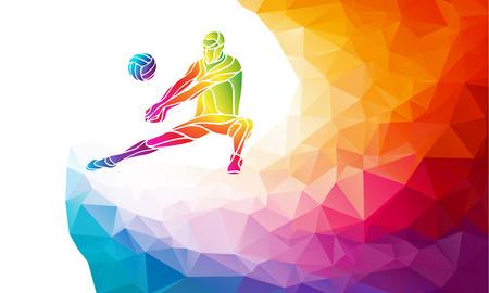 Creative silhouet van volleybal speler die een bal. Strand sport, kleurrijke vector illustratie met achtergrond of banner template in trendy abstracte kleurrijke veelhoek stijl en regenboog terug