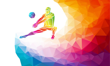 volleyball serve: Creative silhouette of volleyball player receiving a ball. Beach sport, colorful vector illustration with background or banner template in trendy abstract colorful polygon style and rainbow back