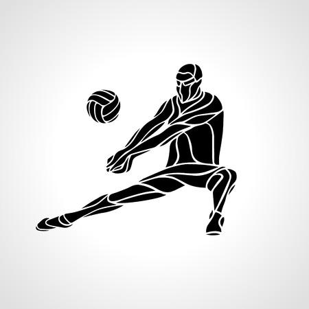 Volleybal speler die feed. Silhouet van een abstract volleybal speler terugsturen van een bal met een opgraving. Vector illustraties illustratie.