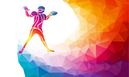 determined: Abstract american football player, color vector illustration on polygonal multicolor background