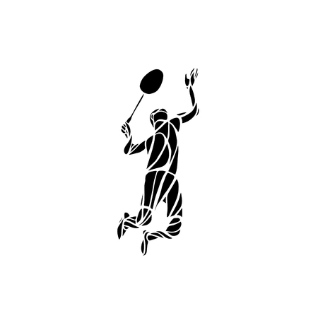 serve one person: Creative silhouette of professional Badminton player doing smash shot. Vector illustration