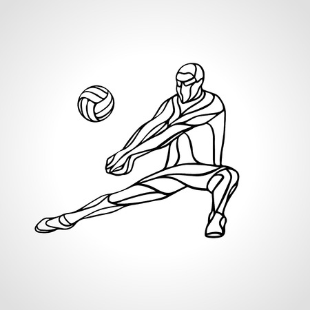Volleyball player receiving feed. Outline silhouette of a abstract volleyball player returning a ball with a dig. Vector clipart illustration. Illustration