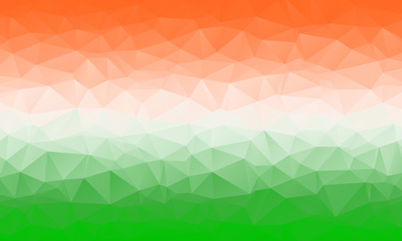 saffron: Colorful abstract geometric background with triangular polygons. Low poly background in India national colors saffron, white and green
