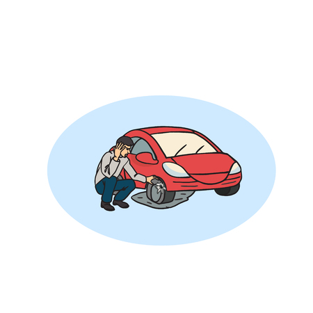 car trouble: Flat tire on the road. Car with flat tire on the road and angry man.  Man having Car Trouble. Detail showing tire change. Car accident