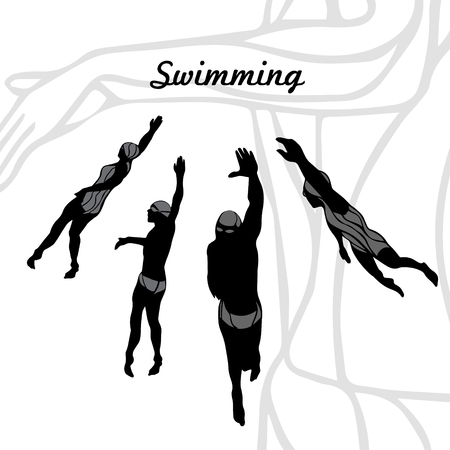 crawl: 4 Silhouettes Collection of Professional Crawl Swimmers.  Vector illustration clipart