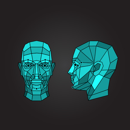 scanning: Face recognition - biometric security system. Face scanning, front view, side view of human head. Vector illustration Illustration