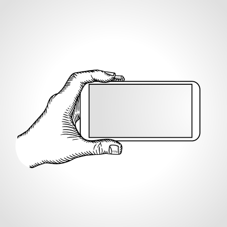 shoot: Hand Holding Mobile, arm with cell, line art drawing hand with mobile phone, front view. Vector illustration Illustration
