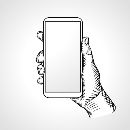 Hand Holding Mobile, arm with cell, line art drawing hand with mobile phone, front view. Vector illustration Illustration