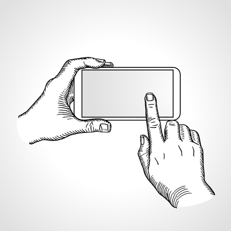 touch screen hand: Hand holding and touch on smartphone with blank screen isolated on white background, mobile phone touch gestures -- touch the screen. Vector outline