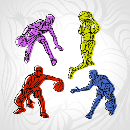 rebound: Basketball players collection vector. 4 silhouettes of basketball players set