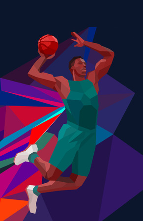 jump shot: Polygonal geometric professional basketball player on colorful low poly background doing jump shot Stock Photo