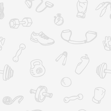 Fitness and gym hand drawn seamless pattern. Light sports seamless vector background with kettlebell, dumbbell, stopwatch, boxing gloves, measuring tape and other Fitness Equipment Illustration