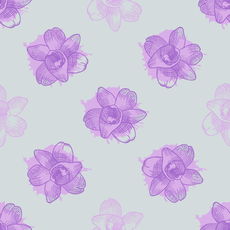lea: Vintage floral seamless pattern with hand drawn lilac orchids. Vector illustration