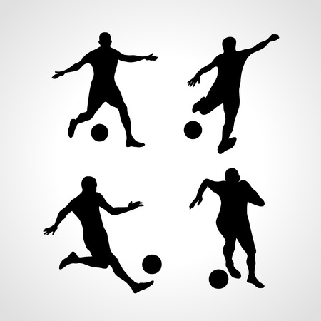 Soccer Players Silhouettes Set in various Poses with the Ball, vector isolated on white background Vectores