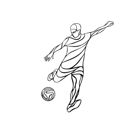 kicks: Soccer or football player kicks the ball. Abstract line drawing vector silhouette. Illustration on white background. Illustration