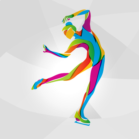 skating on thin ice: Creative silhouette of ice skating girl. Ice show, rainbow colors vector illustration