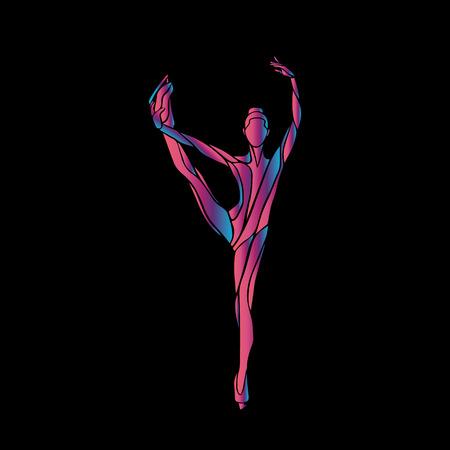 Wintersport. Damen Eiskunstlauf Silhouette auf schwarzem Hintergrund. Ice-Show. Vektor-Illustration