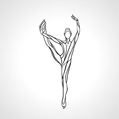 winter sport: Winter sport. Ladies figure skating silhouette.  Ice show. Vector illustration