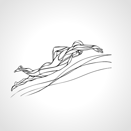 crawl: Freestyle Swimmer Black Silhouette. Sport swimming, front crawl. Vector Professional Swimming Illustration