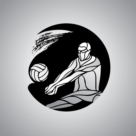 Volleyball player receiving feed icon. Silhouette of a abstract volleyball player returning a ball with a dig round logo. Vector clipart illustration. Eps 8