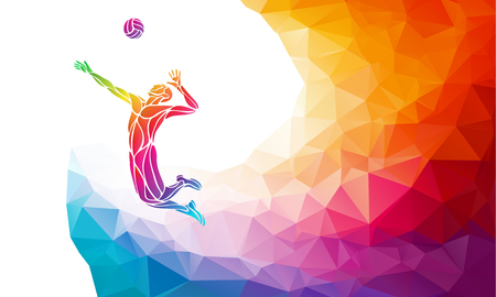 Creative silhouette of volleyball player receiving a ball. Beach sport, colorful vector illustration with background or banner template in trendy abstract colorful polygon style and rainbow back