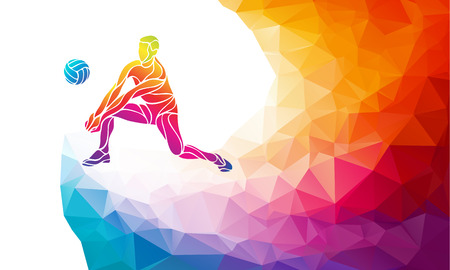 Creative silhouette of volleyball player receiving a ball. Beach sport, colorful vector illustration with background or banner template in trendy abstract colorful polygon geometric style and rainbow back Ilustrace