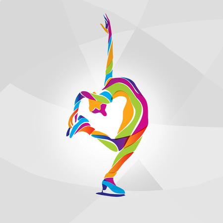 Vector illustration of cartoon skating girl. Ladies figure skating. Color vector figure ice skating silhouette Illustration