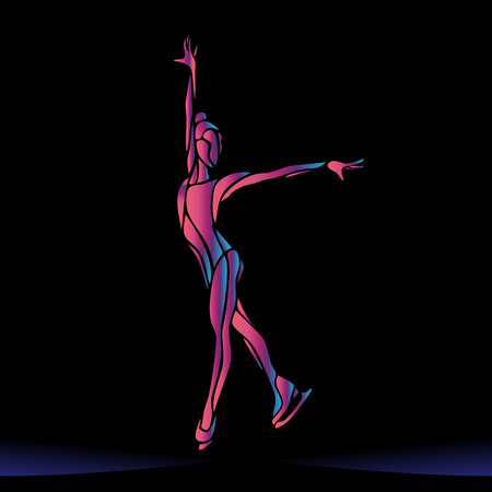 pirouette: Winter sport. Ladies figure skating silhouette on black background.  Ice show. Vector illustration Illustration