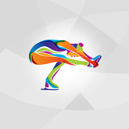 pirouette: Creative silhouette of ice figure skating girl. Ice show, rainbow colors vector illustration Illustration