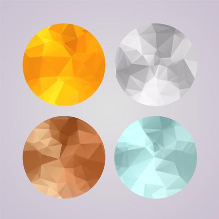 Conjunto de medallas de oro, plata, bronce, platino en estilo de moda geométrica poligonal Ilustración de vector