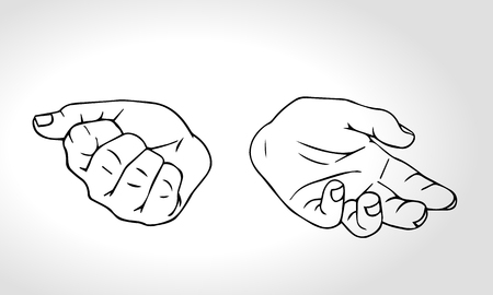 guess: Two hands with open fist and close fist. Soncept of choice. Squeezed in a fist. Outline vector illustration Illustration