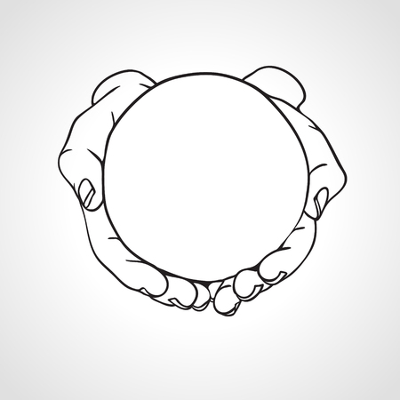 Closeup of cupped hands holding empty round object. Hand drawn vector illustration