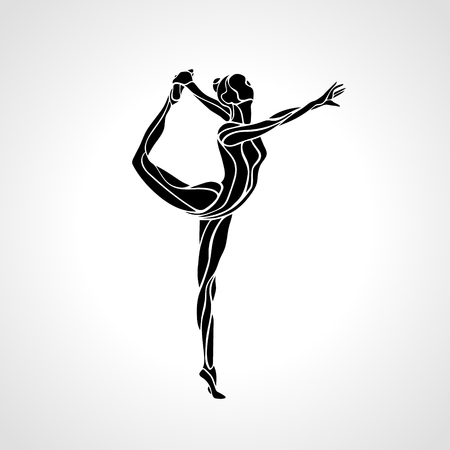 acrobatic: Creative silhouette of gymnastic girl. Art rhythmic gymnastics, black and white vector illustration Illustration