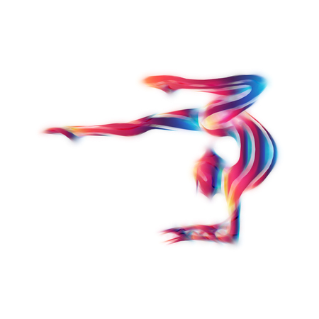 acrobat gymnast: Creative silhouette of gymnastic girl. Art gymnastics woman, illustration or template in trendy abstract colorful neon waves style on white background