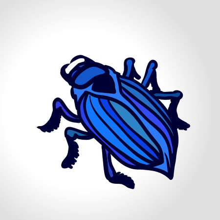 geotrupidae: Ground beetle. Colorful drawing of big blue beetle. Insect isolated on the white background. Illustration