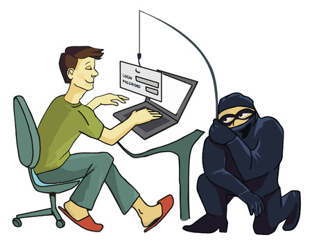 Computer Crime: Internet Phishing a login and password concept