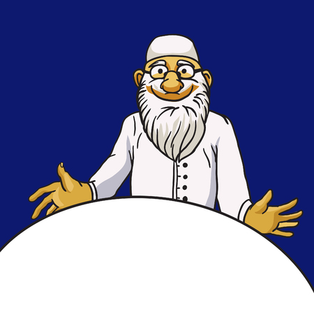 pediatrics: Kind old bearded doctor character isolated on blue background and empty space -- medical frame