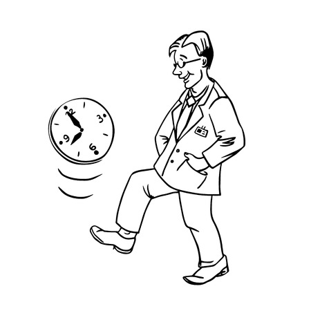 procrastination: linear illustration procrastination businessman which delay his work for later Illustration