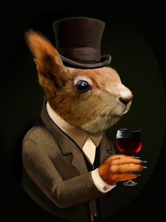 hand cartoon: Colored Portrait of Dandy Squirrel with Glass of Wine and Silk Hat. Sophisticated animal. Intelligent Squirrel in a suit in Vintage Style, Retro Chic. T-shirt print