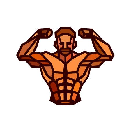 biceps: Polygonal colored bodybuilder . Sportsman shows his biceps. Fitness gym label