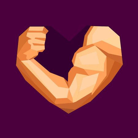 love icon: Polygonal bodybuilders hand with biceps in heart shape. Gym or fitness . I love fitness. illustration Illustration