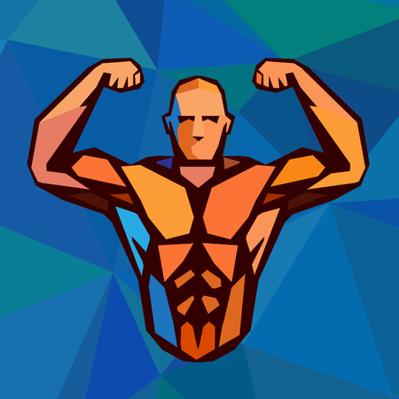 body shape: Polygonal colored bodybuilder . Sportsman shows his biceps. Fitness gym label